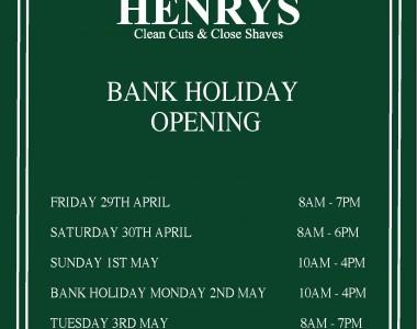 May Day Bank Holiday Opening