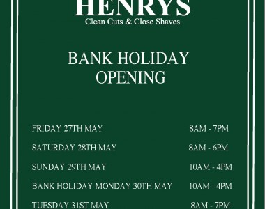 Bank Holiday Opening May 30th