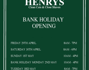 May Day Bank Holiday Opening